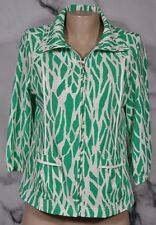 ZENERGY BY CHICO'S Green Ivory White Patterned Zipfront Jacket 0 3/4 Sleeves