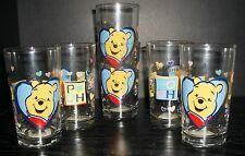 Winnie the Pooh Big Hearts Big Hugs Anchor Hocking Glasses Tumblers Set of 6 NWT