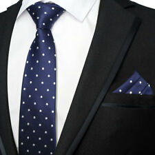 NAVY BLUE AND WHITE POLKA DOT SPOT DESIGNER WEDDING TIE AND POCKET SQUARE SET UK