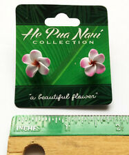 Hawaiian Tropical Flower Earrings Pink Plumerias Foam Fimo Hawaii Jewelry SM New