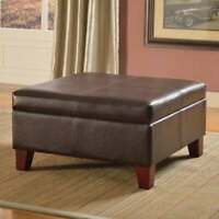 Ottoman Brown Faux Leather Large Storage Table Living Room Furniture New