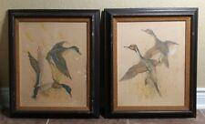Charles E Murphy Wildlife Art Print Vtg Distressed Pair Duck Burlap Mat 21 x 25