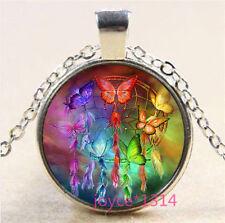 Butterfly Dreamcatcher Cabochon silver Glass Chain Pendant Necklace #3541