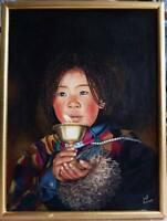 Huile sur Toile et Carton Portrait Enfant Tableau Tibétain Après Olivier Föllmi