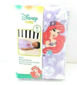 "New Disney Ariel Wearable Blanket Purple M 14 22 lbs 6 to 12 Months  30"" Zipper"