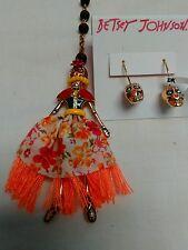 Betsey Johnson Calypso Skull Skeleton Girl Beaded Necklace & Skull Earring Set