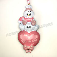 Baby's First Christmas Pink Heart Personalized Christmas Tree Ornament New