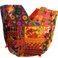 Bolsa algodón India 57x46cm multicolor pavo real bordada espejos bolso accesorio