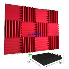 """12 Pack Wedge RED  Acoustic Soundproofing Studio Foam Tiles 2"""" x 12"""" x 12"""""""
