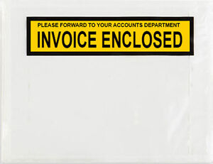1000 - Invoice Enclosed - Clear Document Envelope Sticker Pouch 115X1150MM