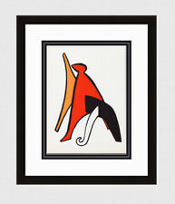 "COOL 1963 Alexander CALDER ORIGINAL Color Lithograph ""Bold Stabiles"" FRAMED COA"