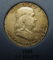1949 Ben Franklin Silver Half Dollar Average Circulated Condition Great Price