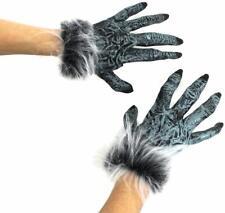 GREY WOLF HAND GLOVES HALLOWEEN HAIRY WEREWOLF COSTUME ACCESSORY FANCY DRESS