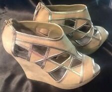 GIANNI BINI LADIES NUDE TRIMMED WITH SILVER WEDGE SANDALS-Size 8