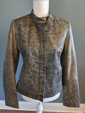 John Carlisle Essentials Leather Jacket Black Brown Zip Front Womens Size L