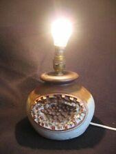 VINTAGE SHELF POTTERY BRUTALIST STYLE ROUND STONEWARE TABLE LAMP c.1970's EX