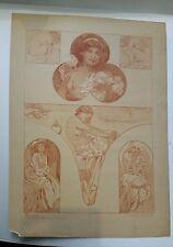 Alphonse MUCHA - Figures DECORATIVES - Lithographie ancienne en SanguineART DECO