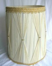 "Vtg  BEIGE Pleated Fabric Drum LAMP SHADE Gold Accents 19"" T Hollywood Regency"