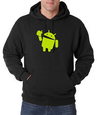 Android Eats Apple Pullover Hoodie Nerd/Computer Geek Cell Phone S-4XL