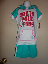 South Pole Girls Embellished S/S Hooded Graphic Shirt 5 + Shorts Turquoise 4 NWT