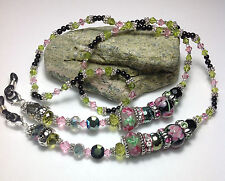 Handmade Jasper Stone Lamp Work Lanyard/ID Badge Holder W/Swarovski Elements USA