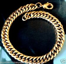 18k Gold filled FIGARO like rings curb link chain mens bracelet FREE Gift B AU