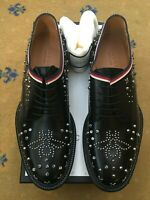 New Gucci Mens Shoes Black Leather Lace Up UK 11 US 12 EU 45 Studded Derby Web