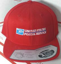 USPS POSTAL FLEXFIT RED WOOL BLEND FLAT BILL SNAPBACK HAT WITH POSTAL LOGO