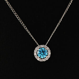 """Blue Topaz Necklace Round Cut Set with Earring & Pendant 18"""" White Gold Over"""