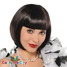 Adult Womens 1920s Black Flapper Wig 20s Fancy Dress Costume Accessory