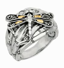 Phillip Gavriel 18k Gold 925 Sterling Silver Bamboo Band Dragonfly Ring