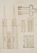 A. HEYDEMANN, gez.FRIESE, Elisabethenkirche, Marburg, Auf- & Grundriss, Lith.