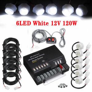120W 6 LED 12V Bulb Hide Emergency Hazard Warning Strobe White Light System Kit