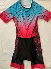 Women's One Piece Tri Suit Triathlon Multicolor Short Sleeve Splash Print Size-?