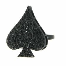Crystal Glass Sparkly Ace of Spades Adjustable Fashion Ring - One Size