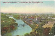 Southern Section Showing Large Plant of Reading Iron Co. in Reading PA Postcard