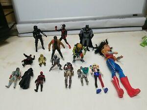 Mixed Lot Of 15 Action Figures Ninja Turtles Batman Star Wars Mandalorian