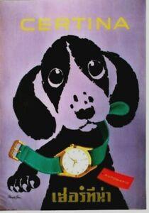 Original vintage poster CERTINA SWISS WATCH DACHSHUND 1958
