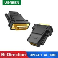 UGREEN DVI-D 24+1 Male to HDMI Female Adapter Converter 1080P For HDTV Projector