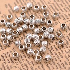 50/100Pcs Antique Tibetan Silver Round Charm Spacer Beads  3MM Hole SH3035