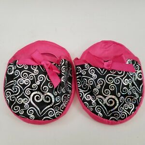 BABW Build a Bear PINK Slippers HEARTS Shoes Pair