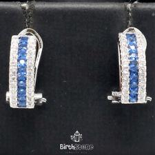 Vintage Blue Sapphire Dangle CZ Halo Earrings Women Jewelry White Gold Plated