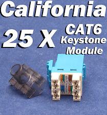25 Pcs Lot Keystone 8P8C CAT6 RJ45 Network 110 Style Socket Punch Down Jack Blue