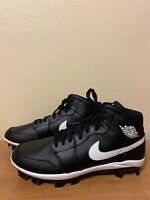 Men's Jordan 1 Retro MCS Baseball Cleats AV5354-001 Black & White Size 12