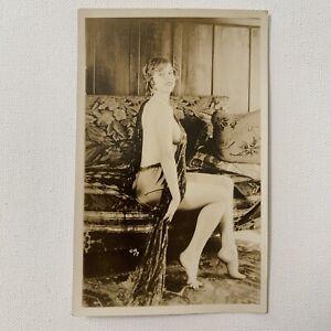 Vintage Antique RPPC Real Photograph Postcard Beautiful Woman Nude Risqué Ca
