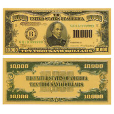 1x Gold Foil US $10000 Dollar Banknote Colored Uncirculated Bill Note Collection