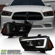 Black Smoke LED Bar Switchback Headlights For 2011-2014 Dodge Charger Headlamps