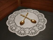1 Pair Of Ornate Demitasse Figural Spoons Engraved Italy
