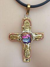 "Mexican Brass Unique Dichroic Glass Brass Crucifix 4"""