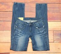 "Machine Nouvelle Mode Women's Dark Wash Distressed Jeans Size 1 (26"" x 32"")"